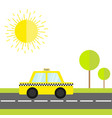 taxi car cab icon on the road green grass tree vector image vector image