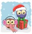 Two Christmas Owls vector image