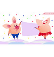 two pigs hanging the banner vector image vector image
