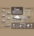 vintage burger menu design on cardboard vector image vector image