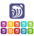 wave icons set flat vector image vector image