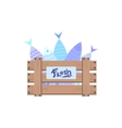 Wooden Crate With Fish vector image vector image
