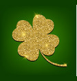 golden clover for st patricks day four leaf vector image