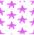 pattern of cute starfish pink color vector image