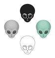 alien icon in cartoonblack style isolated on vector image vector image