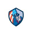 American Patriot Holding Brandish Flag Shield vector image vector image