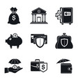 bank deposit icon set simple style vector image