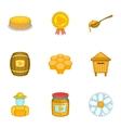 Beekeeping icons set cartoon style vector image vector image