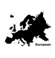 black silhouette european map on white background vector image