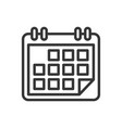 calendar icon on white background line style vector image