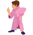 Cartoon angry woman in pink robe and blue shoes vector image
