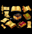 cartoon books and scrolls game ui icons of vector image