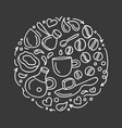 coffee symbol in circle art line sketch vector image
