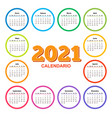 color calendar on 2021 year with circle shape vector image vector image
