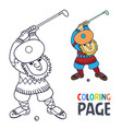 coloring page with golf player has a stick in the vector image