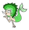 comic cartoon mermaid blowing a kiss vector image vector image