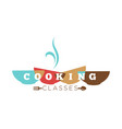 cooking classes isolated icon color bowls and vector image