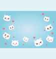 cute cats with various emotions hearts love vector image