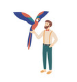 elegant bearded man holding parrot male character vector image vector image