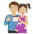 expecting young parents pointing to calendar vector image vector image