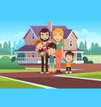 family house happy young parents father mother vector image