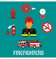 Firefighter profession color flat icons vector image