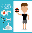 fitness man with protein in the hand vector image vector image
