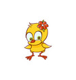 flat cute female chicken chick with flower vector image vector image
