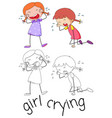 girl character crying on white background vector image vector image