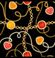 golden chains and gemstones seamless pattern vector image vector image