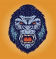 gorilla head kingkong angry vector image