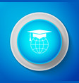 graduation cap on globe icon isolated on blue vector image vector image