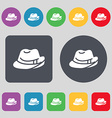 hat icon sign A set of 12 colored buttons Flat vector image vector image
