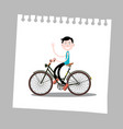 man on bicycle on paper vector image vector image