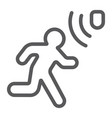 motion detection line icon security and detector vector image vector image