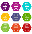 office a chair with wheels icon set color vector image vector image
