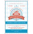 oktoberfest beer festival celebration poster or vector image vector image