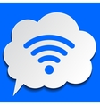 Paper bubble with wi-fi symbol on blue background vector image