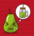 pear fruit with speech bubble character vector image