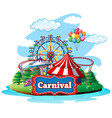 scene with many rides at carnival on white vector image
