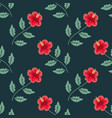 seamless hibiscus pattern vector image