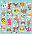 Sticker set of funny animals muzzle Teal vector image