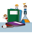 students and school vector image
