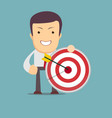successful businessman aiming target with arrow vector image vector image