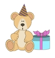 Teddy Bear is sitting with gift box vector image vector image