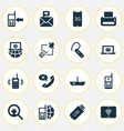 telecommunication icons set with messaging love vector image vector image