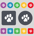 trace dogs icon sign A set of 12 colored buttons vector image