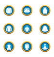 vestment icons set flat style vector image vector image