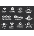 White Traditional Japanese Food Emblems Set vector image vector image