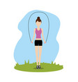 woman jumping to do exercise vector image vector image